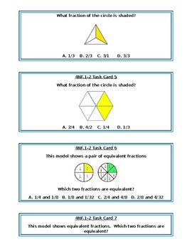 4NF1-2 Equivalent Fractions Task Cards with Models