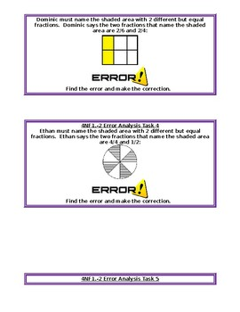 4NF1-2 Error Analysis Task Cards with Models