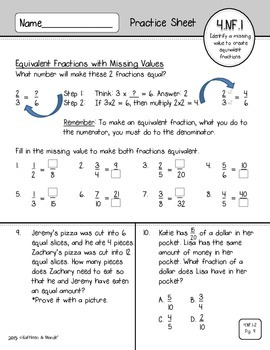 4.NF.1 & 4.NF.2 Practice: Equivalent Fractions & Comparing Fractions
