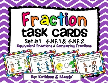 4.NF.1 & 4.NF.2 Task Cards (Equivalent Fractions & Compari