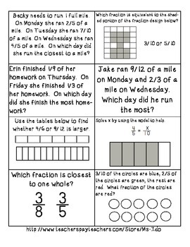 4.NF.1&2 Equivalent Fractions Game -4 in a Row-