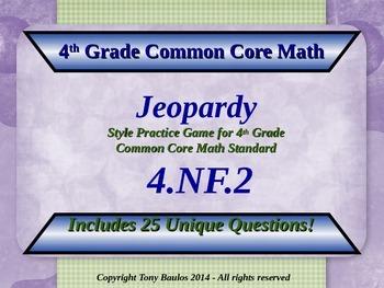 4.NF.2 4th Grade Common Core Math Jeopardy Game  - Compare