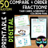 4.NF.2 Compare and Order Fraction Task Cards, Worksheets & Coloring Page