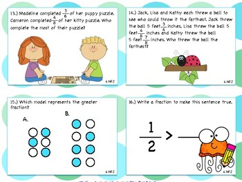 Compare and Order Fraction Task Cards, Worksheets & Coloring Page