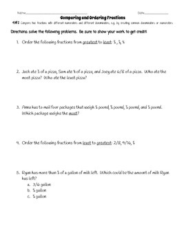 nf comparing and ordering fractions worksheet by katherine dellinger nf comparing and ordering fractions worksheet by katherine dellinger