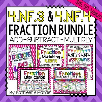 4.NF.3 & 4.NF.4 Bundle: Add, Subtract, & Multiply Fraction
