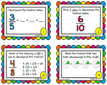 4.NF.3 & 4.NF.4 Task Cards: Add, Subtract, & Multiply Fractions