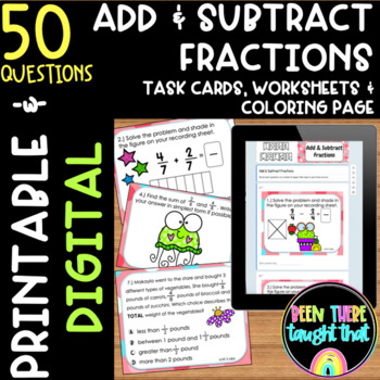 4.NF.3 Adding and Subtracting Fractions Task Cards, Worksheet & Coloring Page