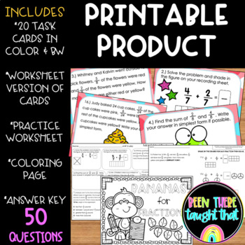 Adding and Subtracting Fractions Task Cards, Worksheet & Coloring Page