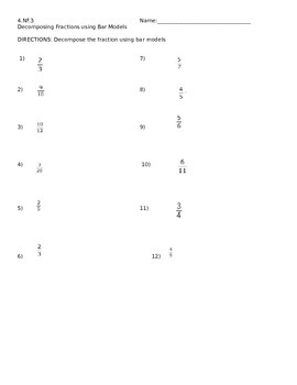 4.NF.3 Decompose fractions using a bar model