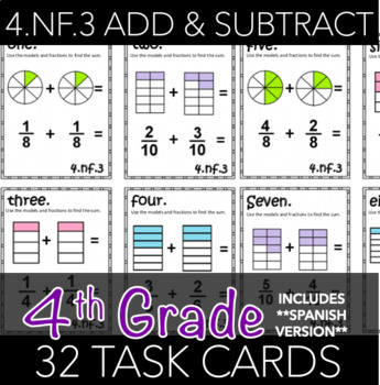 4.NF.3 Fraction Addition and Subtraction Task Cards