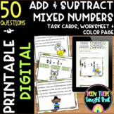4.NF.3 c&d Add/Subtract Mixed Numbers Task Cards, Worksheets and Coloring Pages
