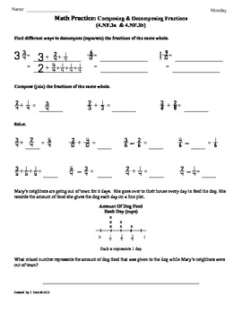 (4.NF.3a&b)Composing and Decomposing Fractions:4th Grade M