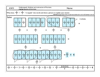 4.NF.4 Addition and subtraction of fractions