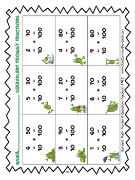 4.NF.5 Fourth Grade Common Core Worksheets, Activity, and Poster