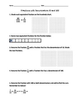 4.NF.5 Fraction Worksheet