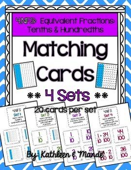 4.NF.5 Matching Cards {4 Sets} - Equivalent Tenths & Hundredths