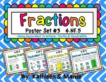 4.NF.5 Poster Set: Equivalent Fractions {Tenths & Hundredths}