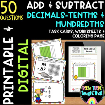 4.NF.5 Represent Decimals/ Add and Subtract Task Cards, Wo