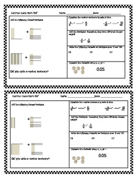 """4NF5,6,7 4th (Fourth) Grade Common Core Fractions """"Half Page Frenzies"""""""