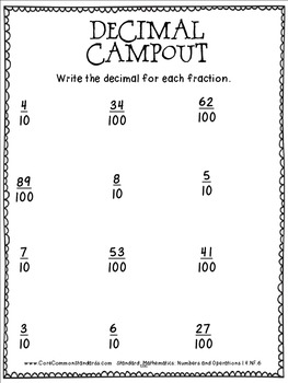 4.NF.6 Fourth Grade Common Core Worksheets, Activity, and Poster
