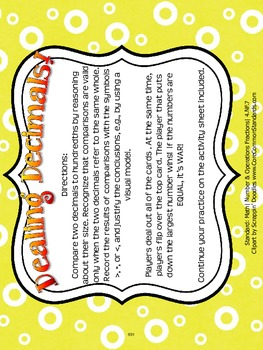 4.NF.7 Fourth Grade Common Core Worksheets, Activity, and Poster