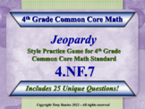 4.NF.7 Jeopardy Game 4th Grade Math - Compare Two Decimals to Hundredths 4.NF.7