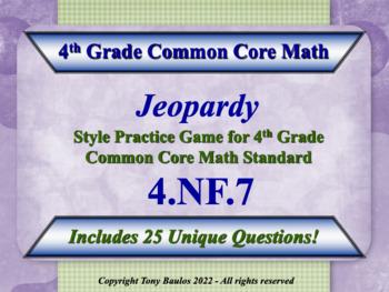 4.NF.7 Jeopardy Game 4th Grade Math - Compare Two Decimals