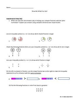 4.NF.A.2 Comparing Common Numerators Full Lesson Plan