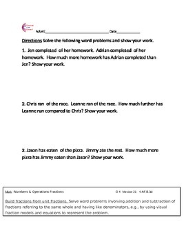 4.NF.B.3d  Fraction Word Problems Fourth Grade Common Core