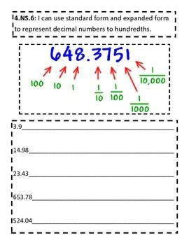 4.NS.6 Interactive Notebook Decimals in standard and expanded form 4.NF.C.6