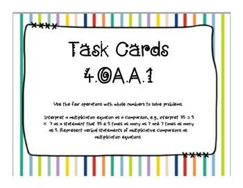 4OA CCSS Standard Based Task Card Bundle, Includes All OA Standards!