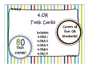 4OA CCSS Standard Based Task Card Bundle, Includes All OA
