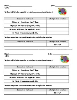 4.OA.1 Math Warm Ups/Performance Assessments