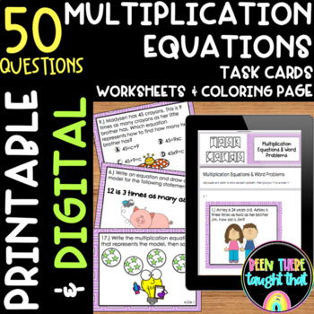 Multiplication Task Cards Worksheets and Coloring Page
