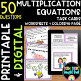 4.OA.1 Multiplication Task Cards Worksheets and Coloring Page