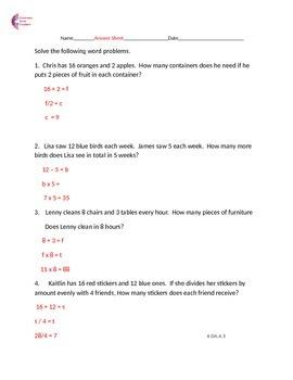 4.OA.2 4.OA.3 Word Problems Common Core Math Worksheets 1 & 2 steps