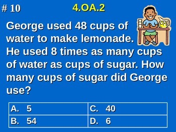 4.OA.2 4th Grade Math - Multiply/Divide Multiplicative Comparison Word Problems