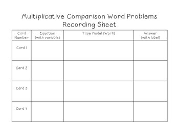 4.OA.2 - Multiplicative Comparison Word Problem - Task Cards