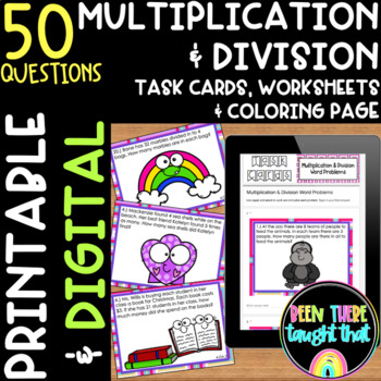 4.OA.2 Task Cards and Worksheet Multiplication Division Wo