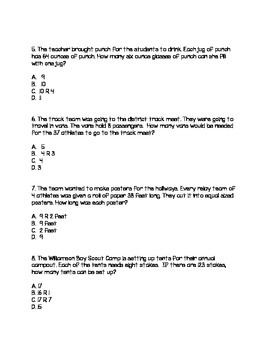 4.OA.3 Division Word Problem Test