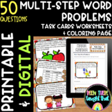 Multi-Step Word Problem Task Cards Worksheets and Coloring Page