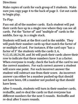 4.OA.4 Factor/Multiple Game