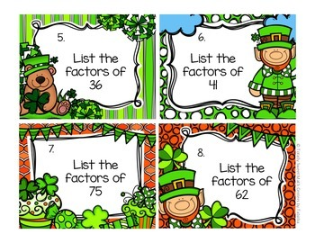 4.OA.4 St. Patricks Day Seat Scoot - Finding Factors