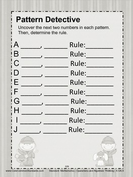 4.OA.5 Fourth Grade Common Core Worksheets, Activity, and Poster