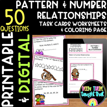 4.OA.5 Patterns and Number Relationships Task Cards & Worksheet