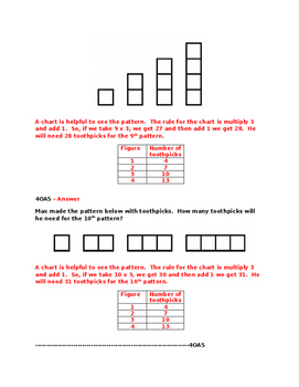 4OA5 Pre and Post Assessments