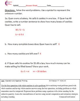 4.OA.A.1 4.OA.A.2 4.OA.A.3 Word Problems Fourth Grade Common Core Math Sheets