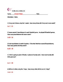 4.OA.A.2, 4.OA.A.3 Multiplication Word Problems Fourth Grade Common Core Math