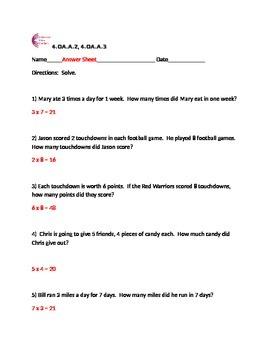 4.OA.A.2, 4.OA.A.3 Multiplication Word Problems Fourth Grade Common Core Math